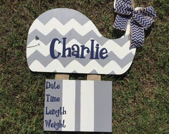 Whale baby announcement hanger