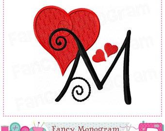 Valentine Heart Monogram M Appliqueheart Letter Appliquemvalentines Day
