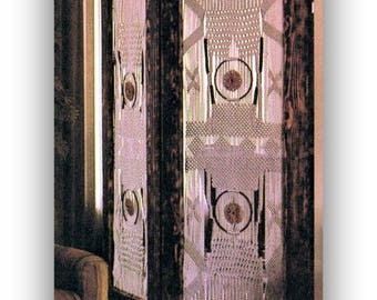 Macrame Room Divider - Screen - Vintage 1970's Home Decor Macrame Digital Pattern Instant Download