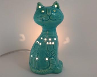 Ceramic Cat Night Light - Turquoise Glaze - Handmade - Retro 1970's Design – Ready to Ship