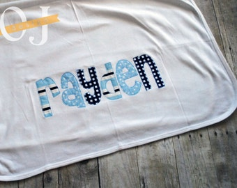 Personalized Baby Name Receiving Blanket - Light Blue and Navy Blue - Baby Boy - Newborn Baby Blanket