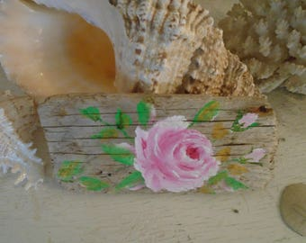 Pink Rose Painting on Driftwood