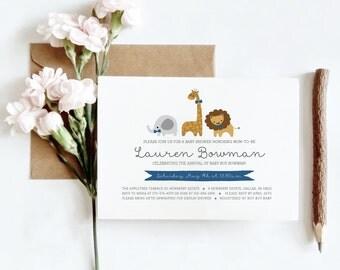 Baby Animal Baby Shower Invitation Digital Download, Baby Animals Printable Wedding Invitation