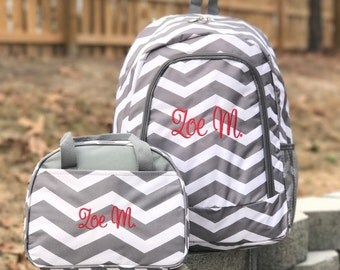 Monogrammed Backpack and Lunch Box Set Personalized Backpack