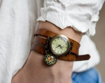 Woman Wrap Watch bronze wrist watch roman numerals, genuine leather, bead watch, bracelet watch real leather, wrap watch bronze watch