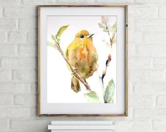 Yellow Warbler bird fine art print, watercolor painting of bird, bird illustration, bird wall art, watercolor print