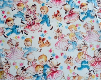 Vintage Wrapping Paper - Ring Around the Rosey Boys and Girls - Full Unused Sheet