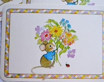 Vintage Stationery Note Postcards - Mouse and Flowers - 3