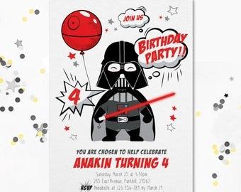 Cute Darth Vader, Darth Vader Invitation, Darth Vader Invite, Darth Vader Party, Star Wars Party Invite, Baby Darth Vader, Star Wars invite