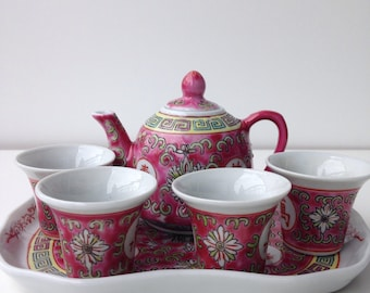 Vintage Chinese mini tea service with tray