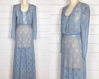 Vintage 1940s Perinwinkle Lace Gown / Long Sleeve / Gored Skirt / Floor Length