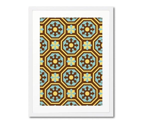 Modernist Tile Art Print With Frame, Barcelona Tiles, Ceramic Tile Design, Geometric Print, Framed Print