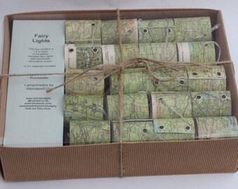 Handmade vintage Bartholomew map mini lampshade fairy lights (string lights)