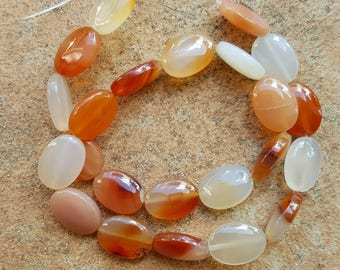 "Good Quality Natural Carnelian Oval Beads, 18mm x 13 x 6.5mm - 15"" Strand"