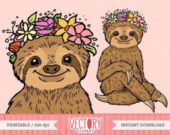 Cute Sloth with Flower Headband Clipart