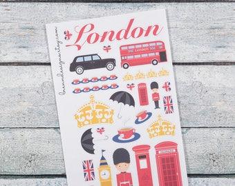 London & UK Deco, England Travel, Great Britain Trip Planning, Decorative Planner Stickers