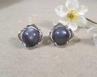 CORO! Beautiful Vintage Silver Tone Pair Of Moon Glow Clip On Earrings Signed Coro  DL#2585