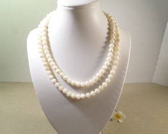 Beautiful Vintage Gold Tone White Glass Beaded Double Strand Choker Necklace  DL#2591
