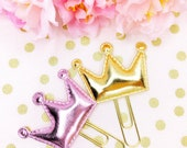 Kawaii Gold / Pink Metallic Crown Cabochons - Planner Clips
