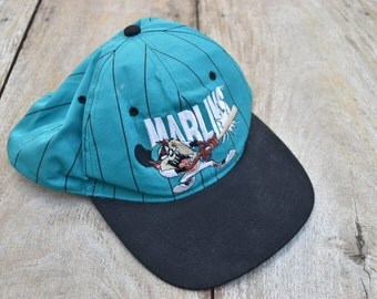 Vintage Green and Black Looney Tunes Florida Marlins Hat
