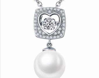 1.00 Carat Dancing Diamond & Genuine Peal Pendant with Chain