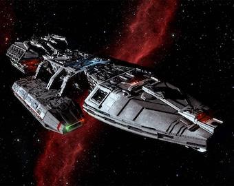 Battlestar Galactica Digital Art  Glossy Print  'Galactica Crossing The Nebula'