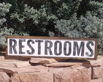 Restrooms Signs, Restroom Signs, Custom Wood Sign, Made to Order Distressed Farmhouse Decor