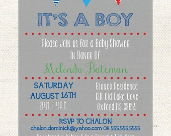 Pennants Baby Shower Invitation- Digital File- 5 x 7