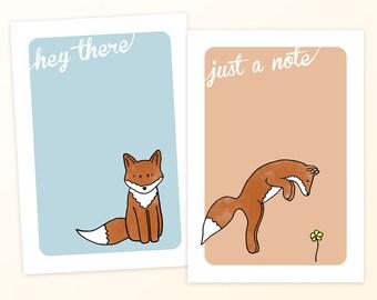 Set of 8 Cute Fox Notecards! Cute Fox Stationary - Hand Drawn Fox Notecards -Blank Notecard Set - Illustrated Woodland Stationary - a2 Cards