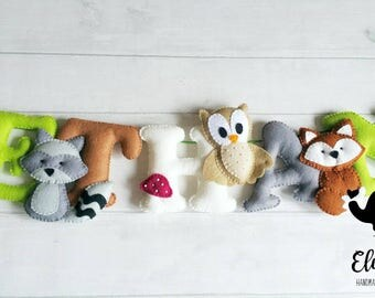 Woodland name banner, felt name garland, woodland creatures, personalised banner, nursery wall hanging, nursery decor, kids room decor