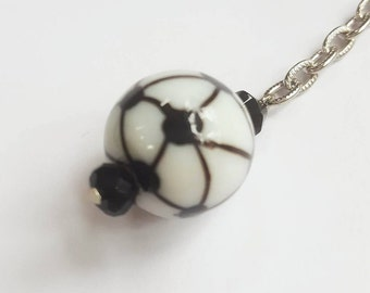 Handmade Black and White Round 2 inch Decorative Keychain on a Bright Silver Chain
