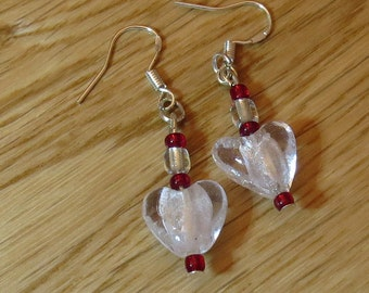 Simple Pretty Heart Drop Earrings - Choice of colours - Glass & Sterling Silver