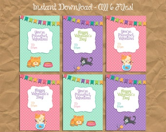 INSTANT DOWNLOAD - 50% OFF Kitten Kitty Cat Valentine's Day Cards