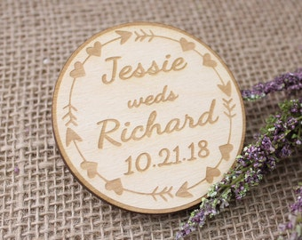 Boho Wedding, Save The Date Magnets, Rustic Wooden Save The Date Magnet, Circle Wood Boho Wedding Magnet, Custom Boho Wedding Decor