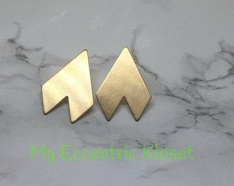 Chevron brass earrings.