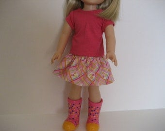 14.5 Inch Doll Clothes - Small Flowers Skirt Outfit made to fit dolls such as Wellie Wishers doll clothes
