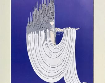 Original Erté Vintage Art Deco Fashion Book Plate print - 'The Arctic Sea' - Matted and Mounted for framing * Sumptuous semi-gloss color
