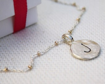 Sterling Silver Initial Necklace - Customized Jewelry - Personalized Necklace - Personalized Jewelry - Customized Necklace - Engraved Disc