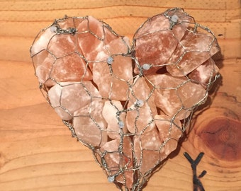 Cleansing Heart- made of chicken wire and Himalayan salt *good health and energy* decor