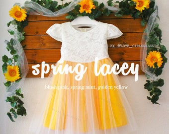 Baby Spring Princess Spring Golden Yellow Lace Cap Sleeve Tulle Dress, Baby spring dress, Girls princess dress, lace tulle dress