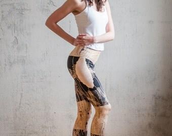 Womens Leggings/Yoga Leggings/Running Leggings/Boho Yoga Pants/Active Wear/Athleisure/Golden/Black/Yoga wear/Freeberry
