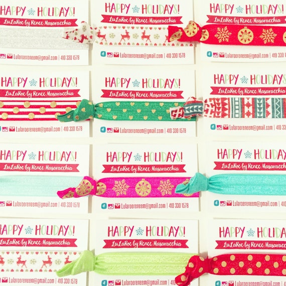 LULAROE HOLIDAY Hair Tie Business Cards |  LuLaRoe Holiday Cards + Hair Ties | Christmas Thank You Gift, Christmas Promo Promotional Gifts