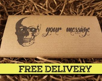 Personalised Goth Skull Handmade Belgian Chocolate Bar. Birthday / congratulations / Thank you / Halloween / Easter. FREE P&P