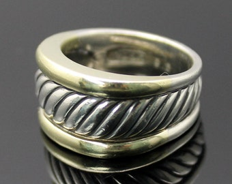 GIFT IDEA!! Authentic David Yurman 14K Yellow Gold Edge Textured Sterling Silver Cable Ring Size 9.25