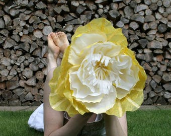 Giant Oversized Yellow Paper Flower. Alternative Wedding Flowers. Ideal Wedding Or Event Prop