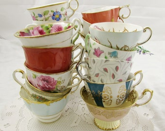 25 Vintage Tea Cups with MINOR DAMAGE for Craft Supplies, Display, or Use, Teacups ONLY, No Saucers