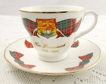 "Crown Warwick ""New Brunswick Tartan"" Tea Cup and Saucer"