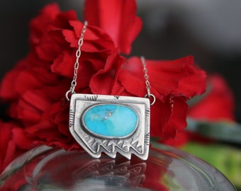 Turquoise necklace, mexican turquoise jewelry, turquoise sterling silver necklace, pyrite turquoise jewelry, boho jewelry, turquoise pendant