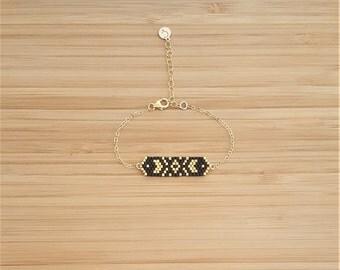 Bracelet Cheyenne Gold Plated and Miyuki Beads