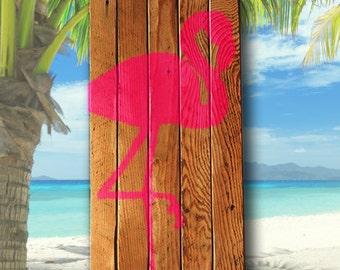 Pink Flamingo Wall Art - Reclaimed Wood, Ocean Bathroom, Nautical, Beach Cottage, Coastal Home, beach house